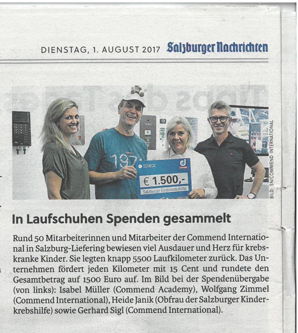 """Bericht """"Salzburger Nachrichten"""" - Spendenübergabe an die Salzburger Kinderkrebshilfe"""